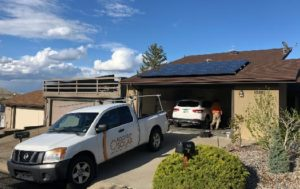 Rooftop Solar truck in front of customer house